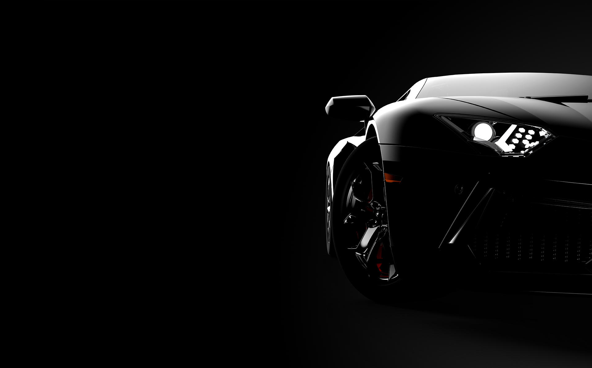 Front view of a generic and brandless modern sport car on a dark background. 3D illustration